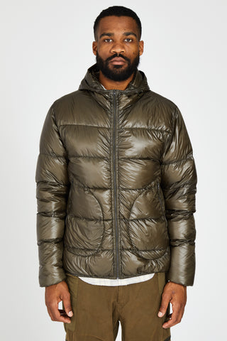 HOODED DOWN PUFFER JACKET - OLIVE