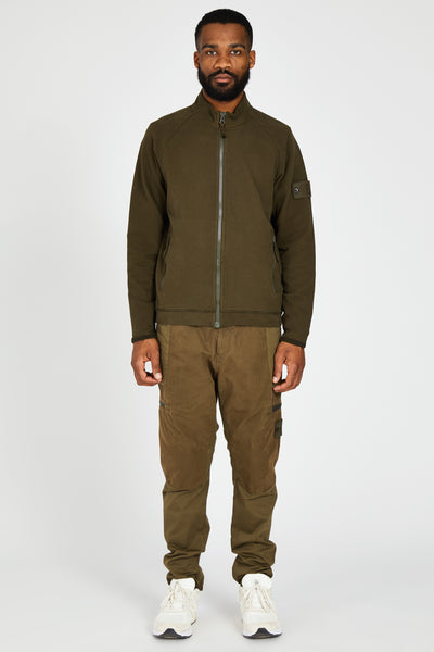 63840 FELPA STRETCH GHOST ZIP UP SWEATSHIRT - ARMY GREEN