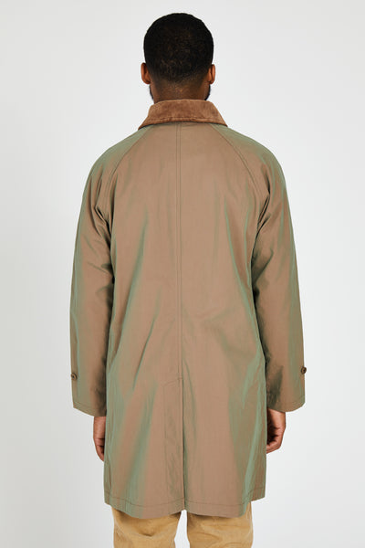 IRIDESCENT COTTON NYLON FLY FRONT COAT - KHAKI