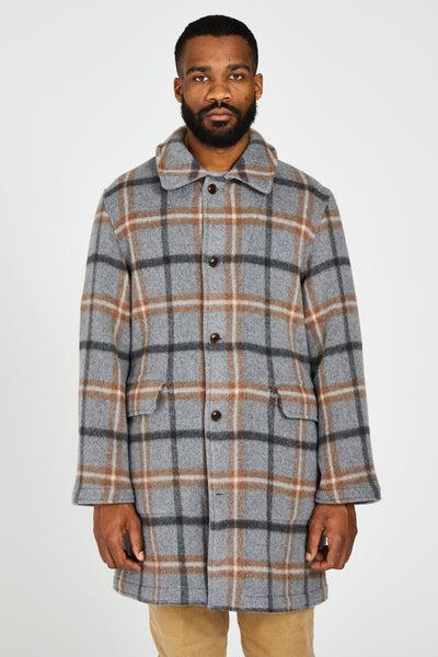 WOOL ALPACA BEAVER PLAID REVERSIBLE EASY COAT - GRAY