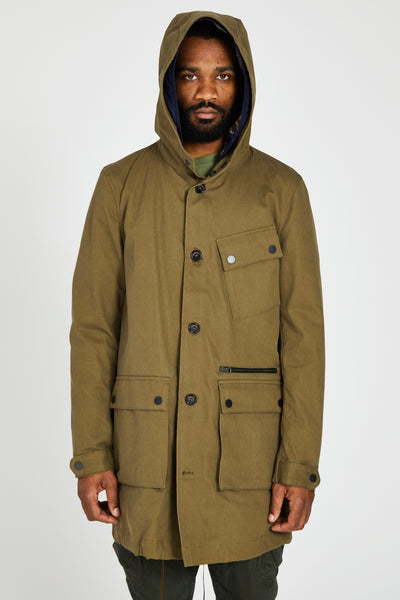 VASSILY PARKA WASHED COMPACT GARBARDINE - ARMY GREEN