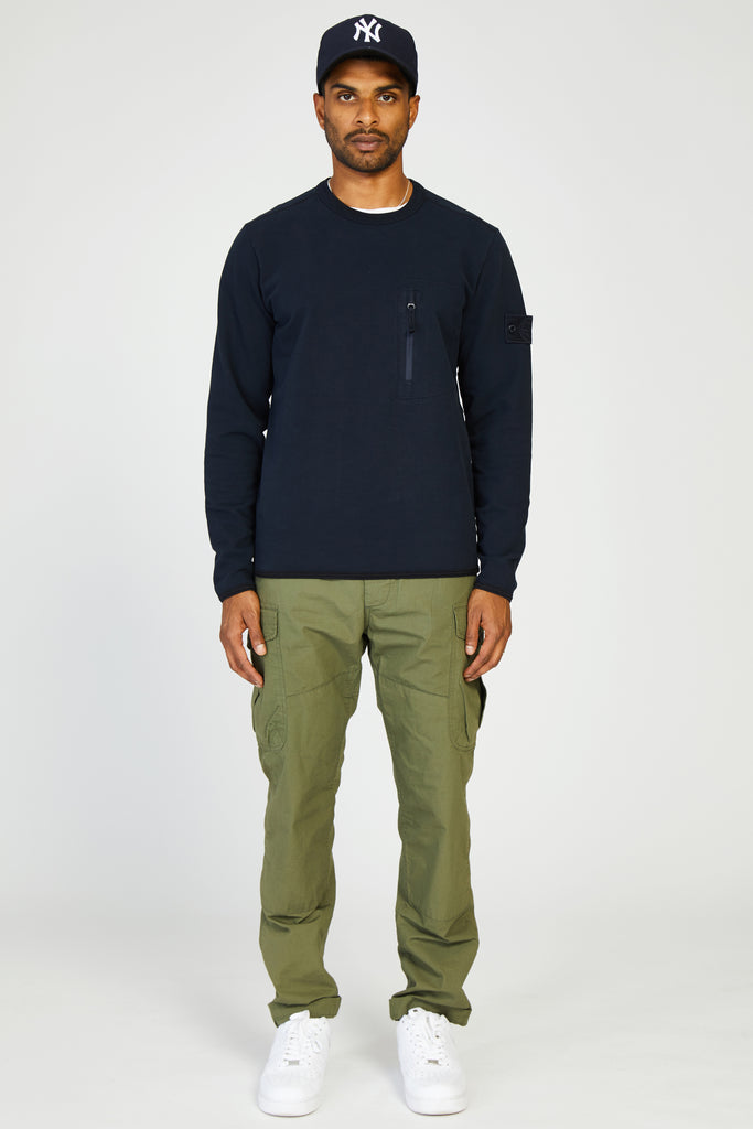 61740 FELPA STRETCH GHOST ZIP POCKET SWEATSHIRT - NAVY