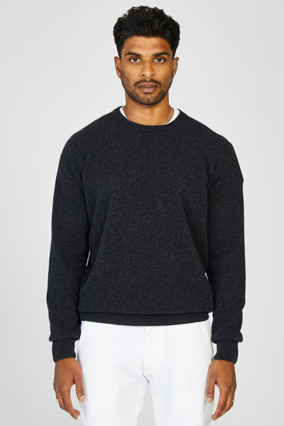 WASHED WOOL KNIT CREWNECK SWEATER - CHARCOAL