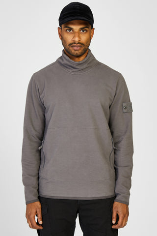 61840 FELPA STRETCH GHOST MOCK NECK SWEATER - GREY