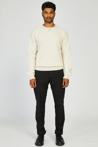 JAPANESE COTTON SWEATSHIRT - WHITE MELANGE