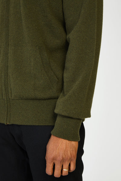 CASHMERE ZIP HOODIE - ARMY GREEN