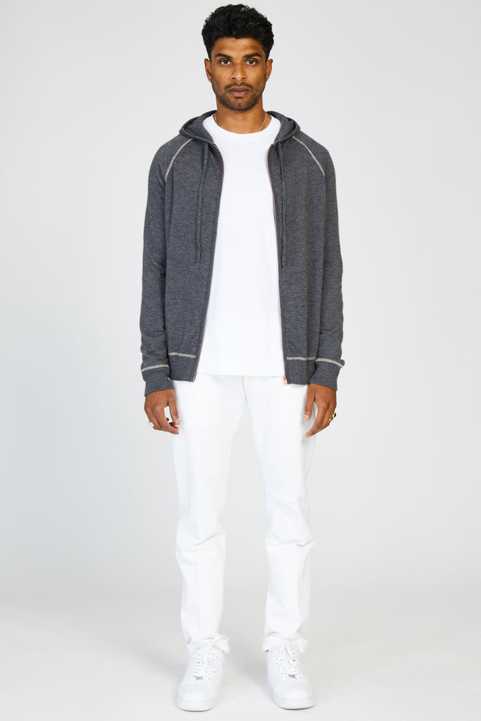 ZIP KNIT HOODY LIGHT PURE CASHMERE - ANTHRACITE