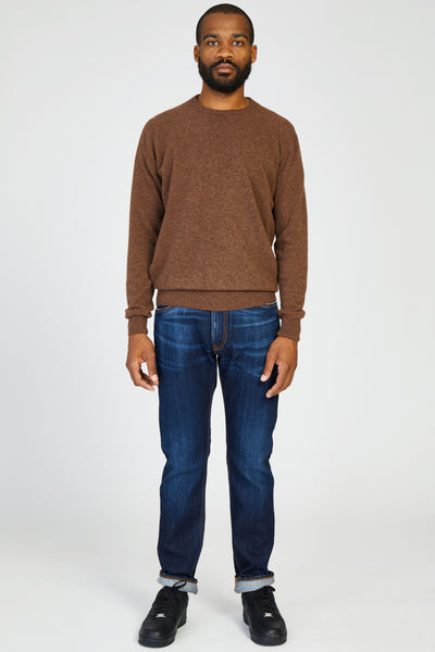 WASHED WOOL KNIT CREWNECK SWEATER - ROCK