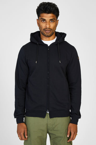 HEAVY JERSEY ZIP HOODY - NAVY