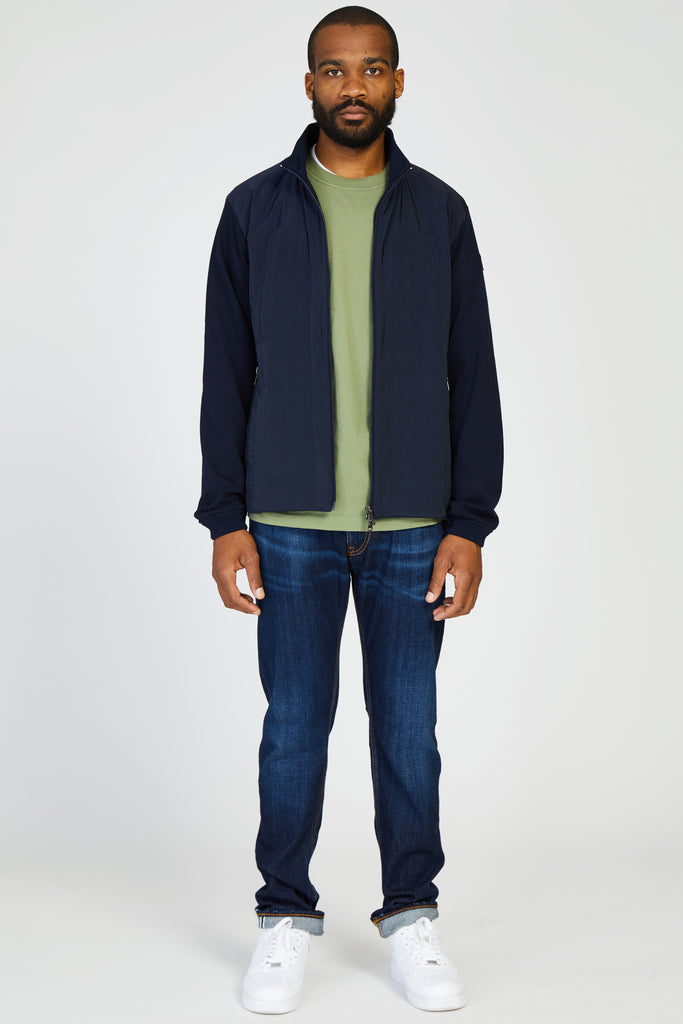 COTTON ZIP SWEATER WITH WATER RESISTANT FRONT - NAVY