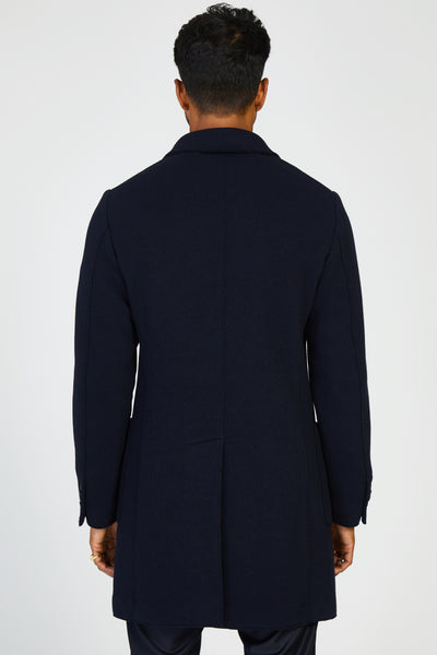 CAPOSPALLA SENSER TV WOOL KNIT COAT - NAVY