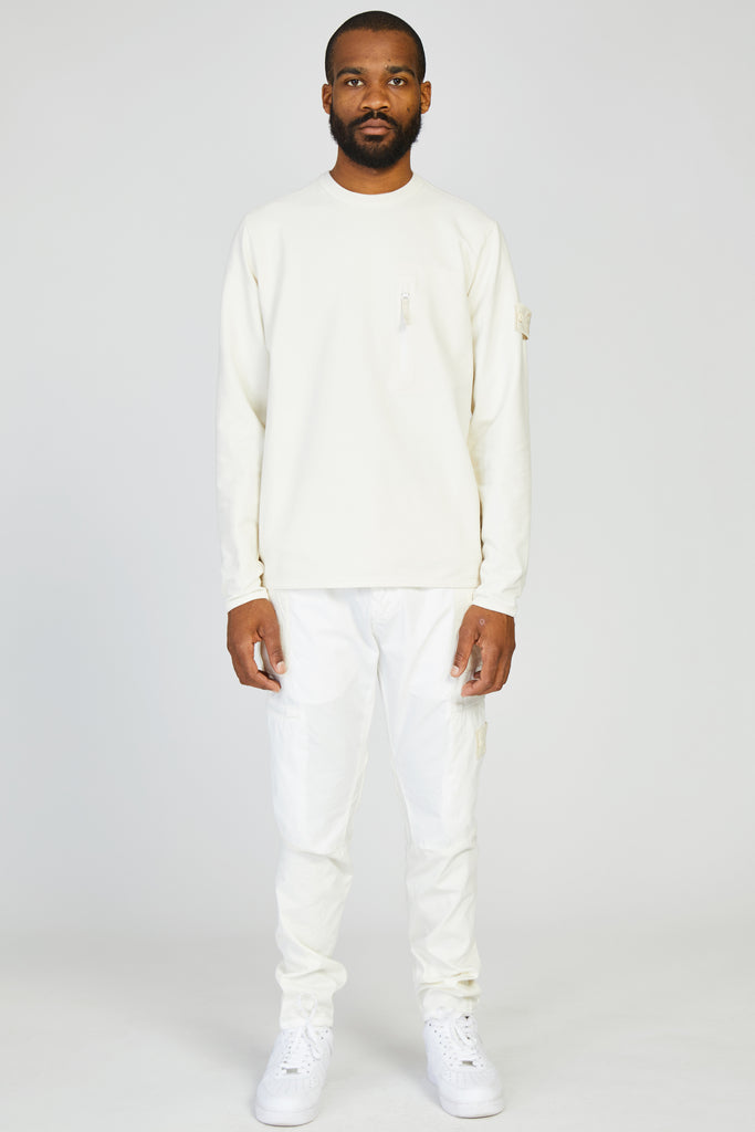 61740 FELPA STRETCH GHOST ZIP POCKET SWEATSHIRT - WHITE