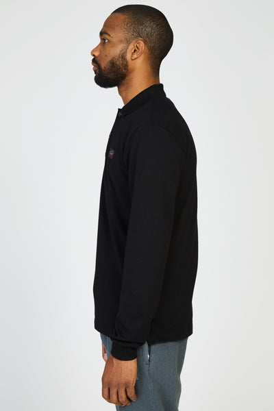 ORGANIC COTTON PIQUE POLO - BLACK