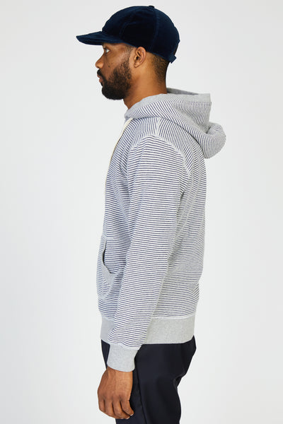COTTON FLEECE STRIPED HOODIE - BLUE STRIPE