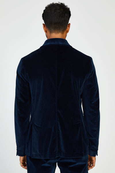DORIA LOREDAN VELVET DOUBLE BREASTED BLAZER - NAVY