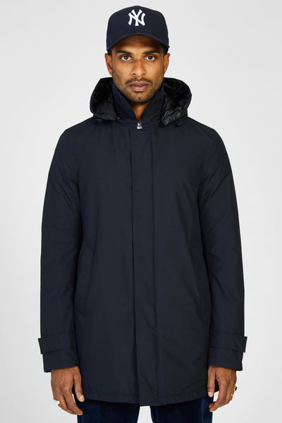 LAMINAR GORETEX DOWN TRENCH COAT WITH HOOD - BLACK