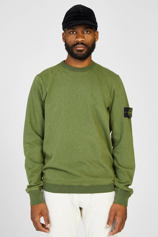 63561 FELPA MALFILE WASHED FLEECE SWEAT SHIRT - GREEN