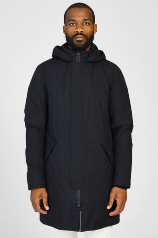 LAMINAR GORETEX DOWN PARKA WITH REMOVABLE HOOD - BLACK