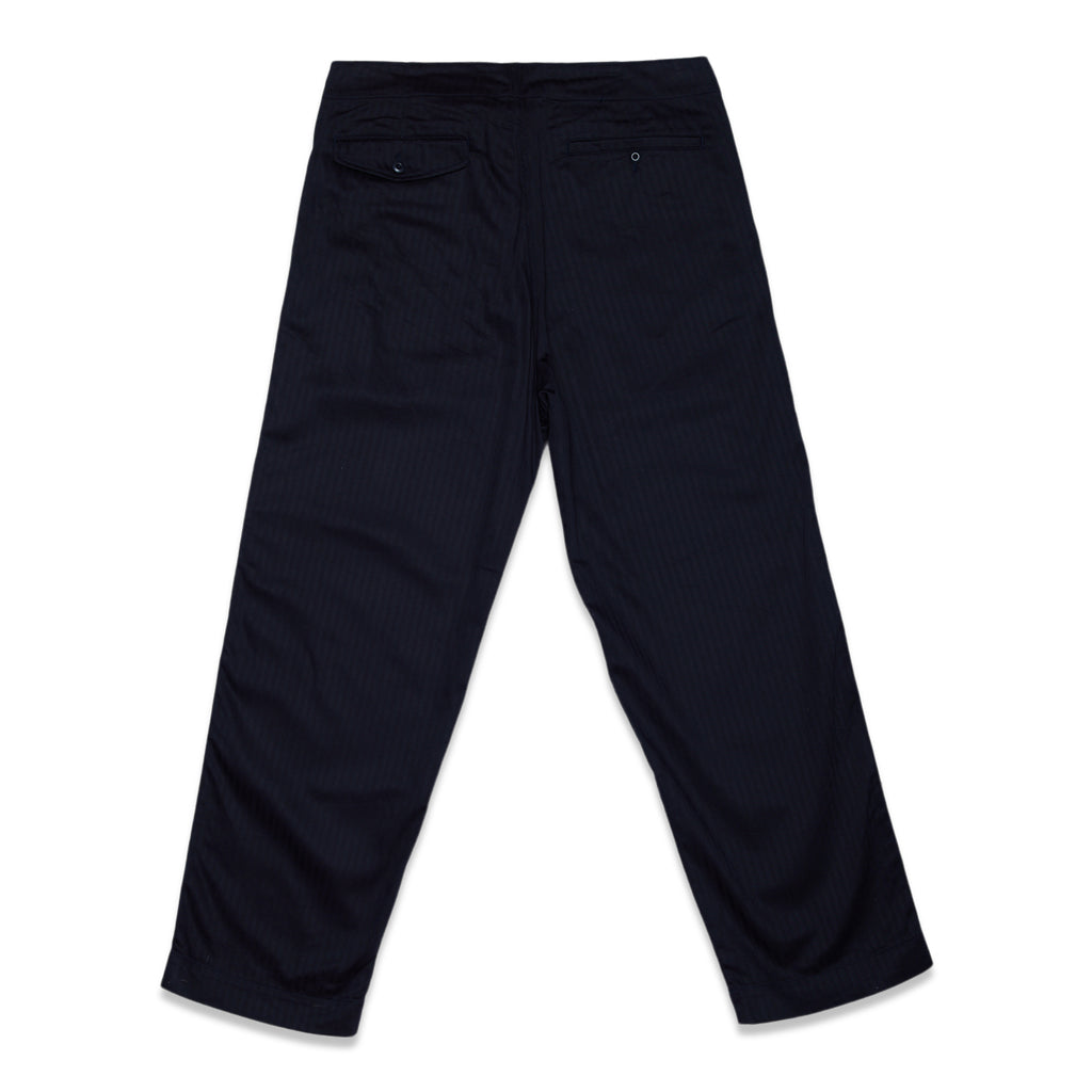 SUPIMA COTTON HERRINGBONE D-RING BELTED PANTS - NAVY