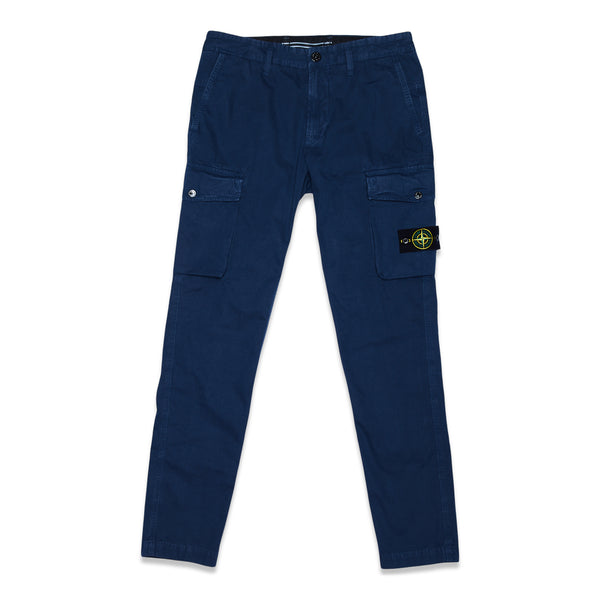 318WA BRUSHED COTTON CANVAS GARMENT DYED 'OLD EFFECT' PANTS - BLUE MARINE