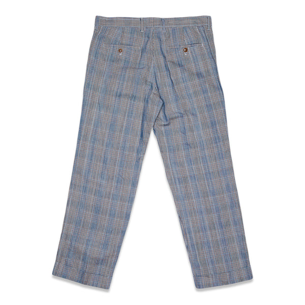 Glen Plaid Cotton Linen L-Pocket Pants - Blue
