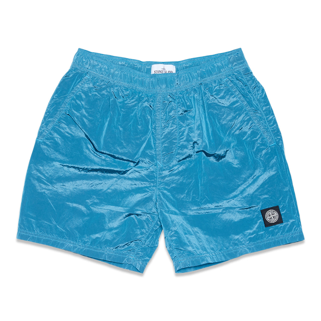 B0943 NYLON METAL GARMENT DYED SWIM SHORTS - TURQUOISE