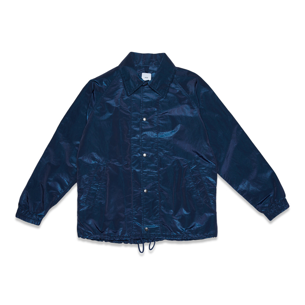 SUPER IRIDESCENT NYLON TAFFETA COACHES JACKET - NAVY