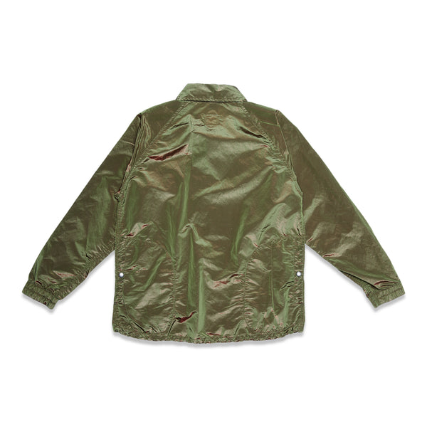Super Iridescent Nylon Taffeta Coaches Jacket - Olive