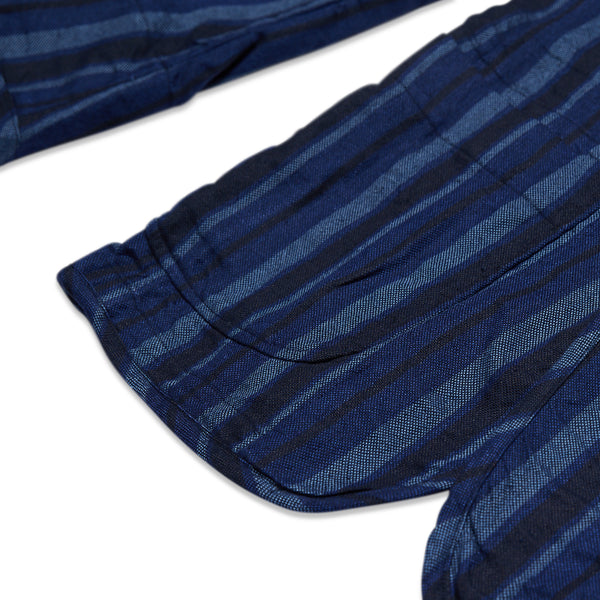 STRIPE LINEN COTTON 2B PATCH POCKET PIPING JACKET - NAVY