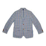Glen Plaid Cotton Linen 2B Jacket - Blue