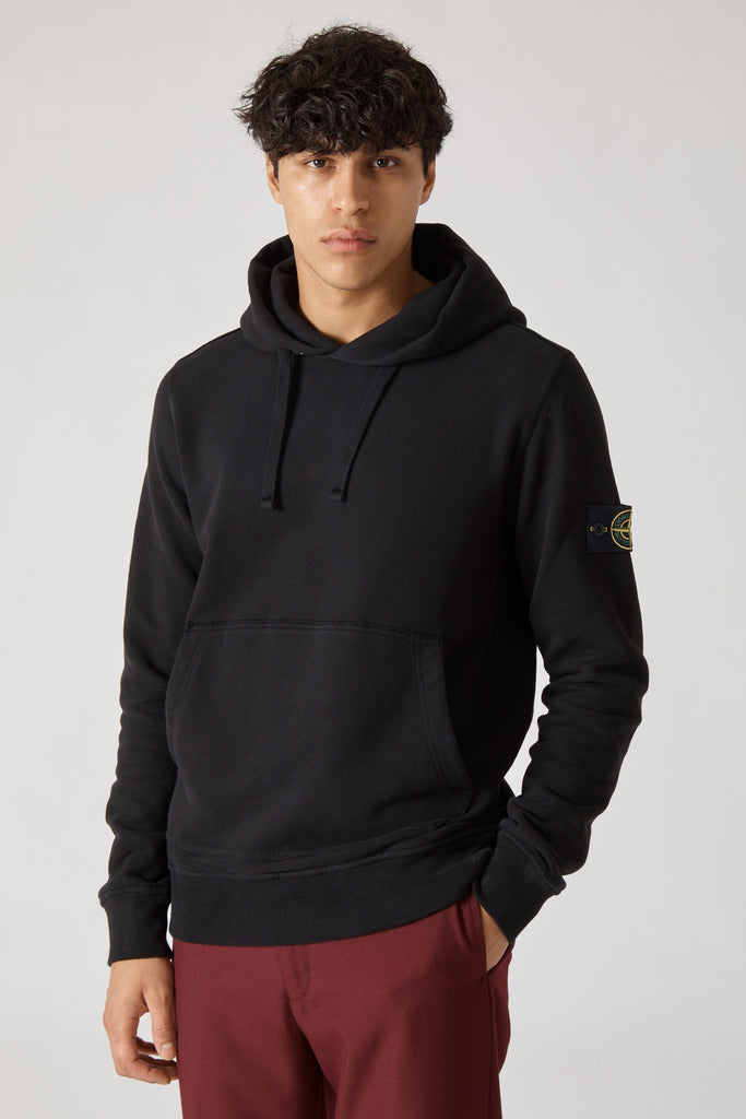 62820 COTTON FLEECE GARMENT DYED HOODY - BLACK