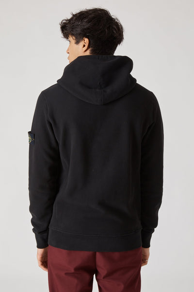 64120 FELPA COTONE SMERIGLIATA FLEECE HOODED SWEATSHIRT - BLACK
