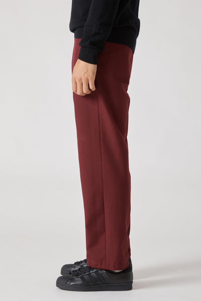 DICKENS EASY IRON WOOL TROUSER - BORDEAUX