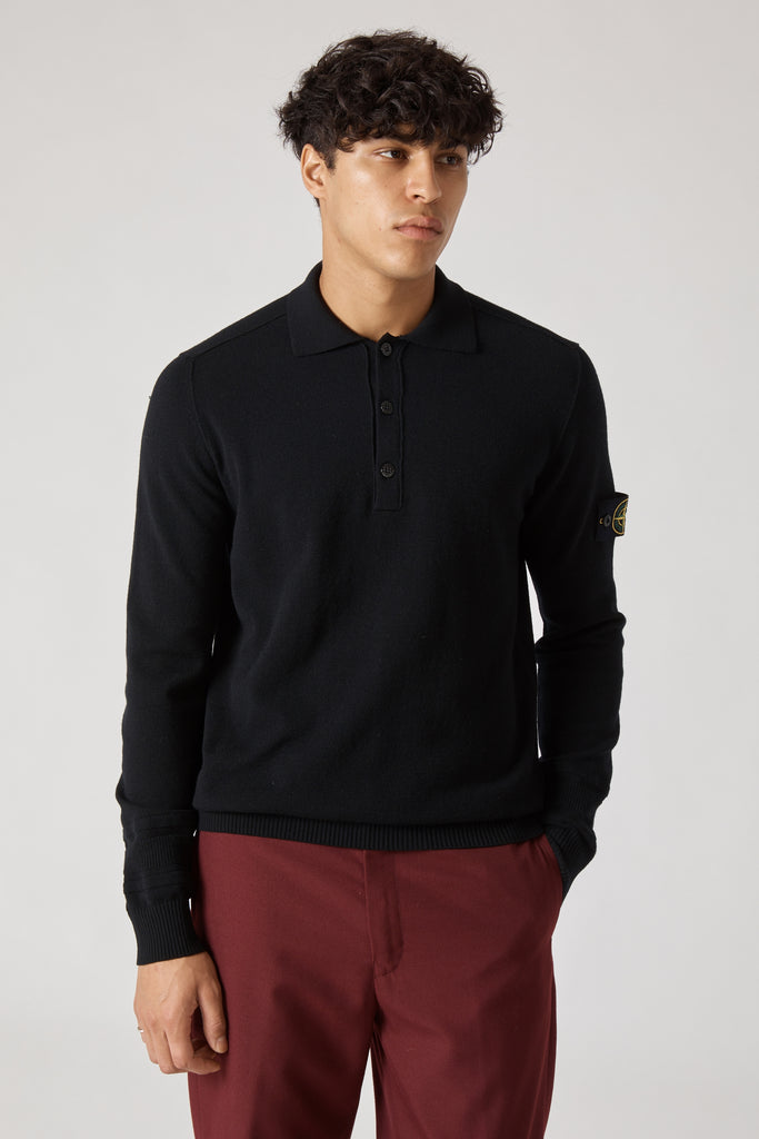 589A1 STRETCH WOOL KNIT POLO - BLACK
