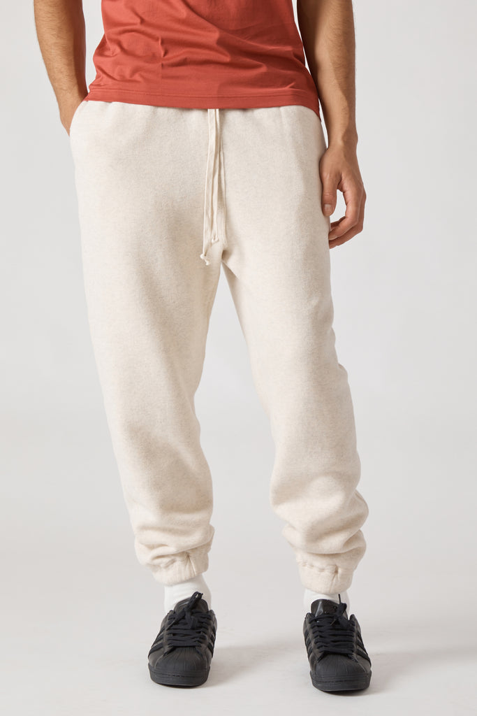 COTTON LYOCELL DOUBLE BRUSHED JERSEY SWEAT PANTS - OATMEAL
