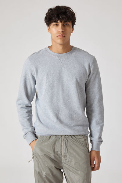 CREW NECK FLEECE SWEATSHIRT - GREY MELANGE