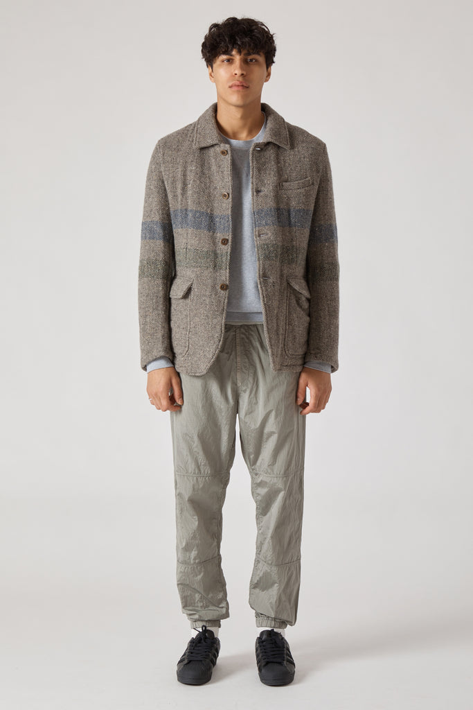BORDER STRIPE WOOL COTTON SHIRT COLLAR JACKET - GRAY