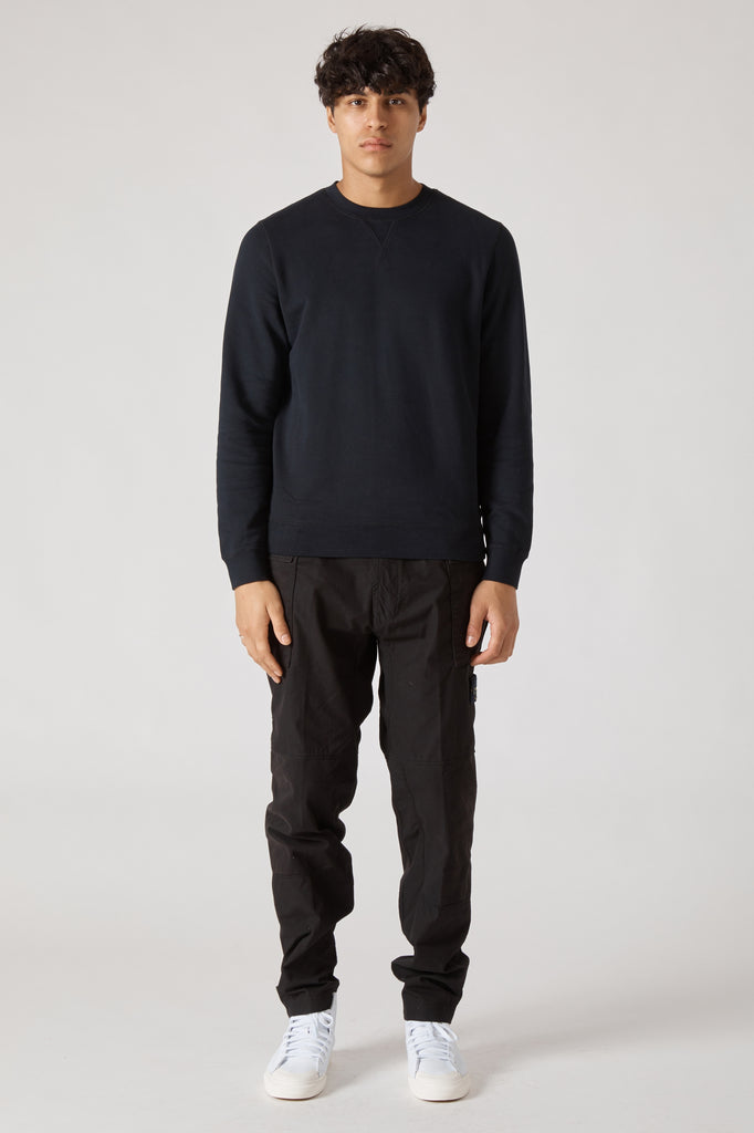 CREW NECK FLEECE SWEATSHIRT - BLACK
