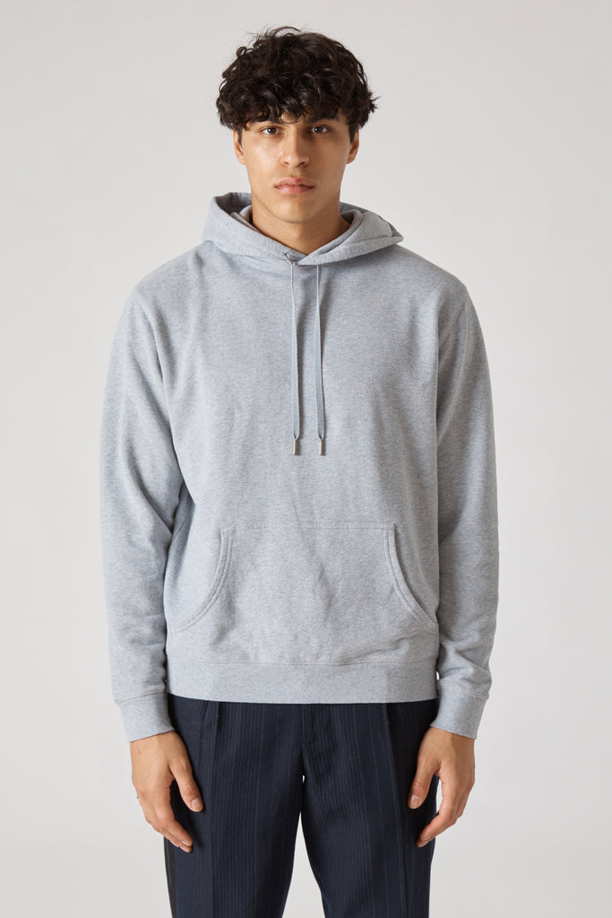 PULLOVER FLEECE HOODY - GREY MELANGE