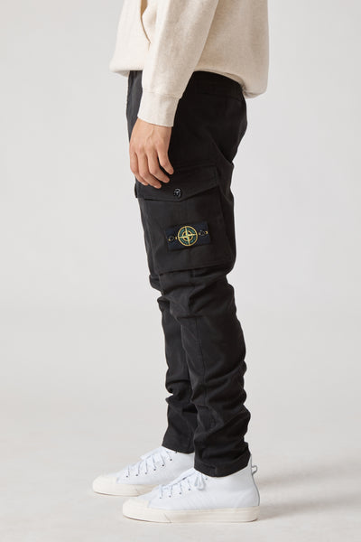 30810 STRETCH GABARDINE GARMENT DYED CARGO PANTS - BLACK