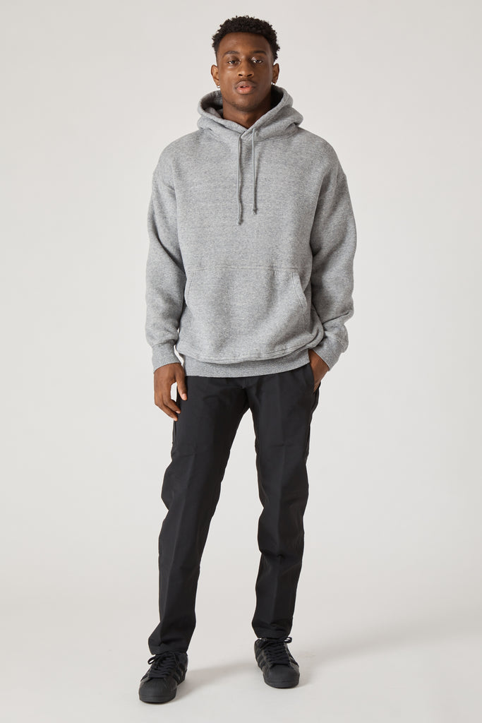 COTTON LYOCELL DOUBLE BRUSHED JERSEY OVERSIZED HOODY - GRAY