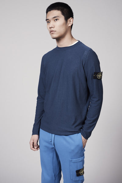 526A9 EXTRA TWISTED COTTON KNIT SHIRT - BLUE MARINE