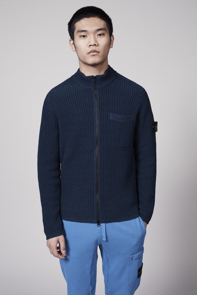 562A5 MERCERISED COTTON TAPE MOSS STITCH SWEATER - BLUE MARINE