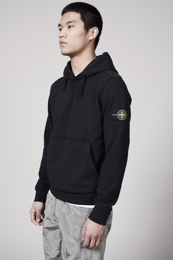 62851 COTTON FLEECE GARMENT DYED HOODY - BLACK