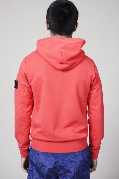 62851 COTTON FLEECE GARMENT DYED HOODY - CORAL