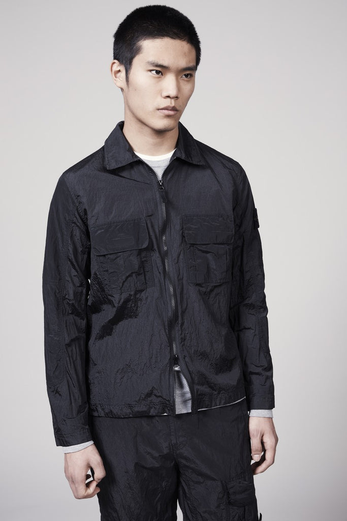11117 NYLON METAL OVERSHIRT - BLACK