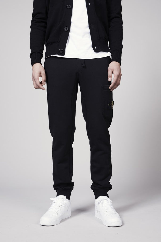 60351 COTTON FLEECE GARMENT DYED PANTS - BLACK