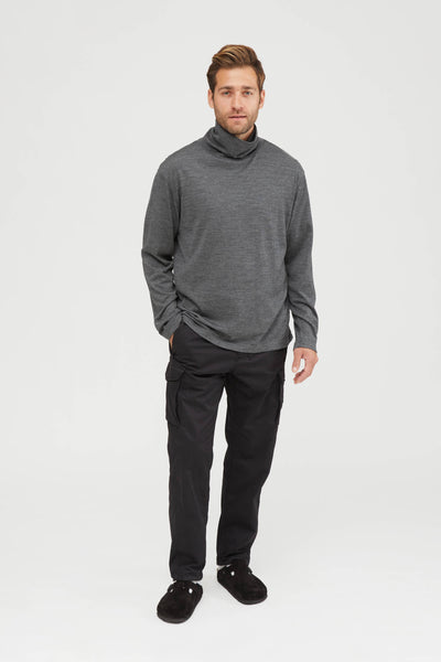 Washable High Gauge Wool Jersey Turtle Neck Shirt - Gray