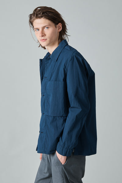 POPLIN NYLON CRUISER OVERSHIRT - NAVY