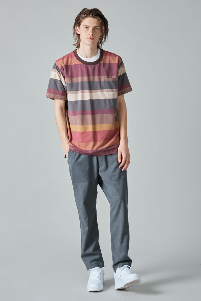 MULTICOLOR STRIPE VISCOSE NYLON BIG T-SHIRT - WINE